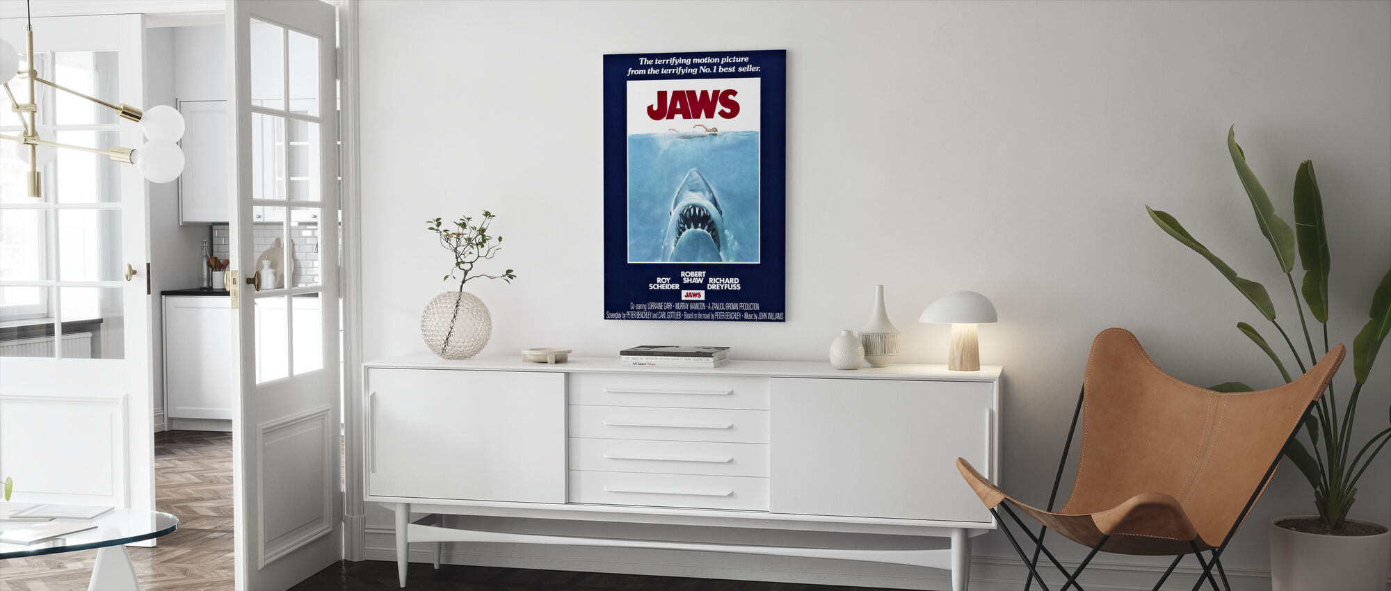 Movie Poster Jaws - Canvas print - Living Room