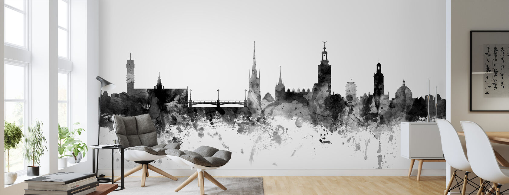 Stockholm Skyline Black - Wallpaper - Living Room