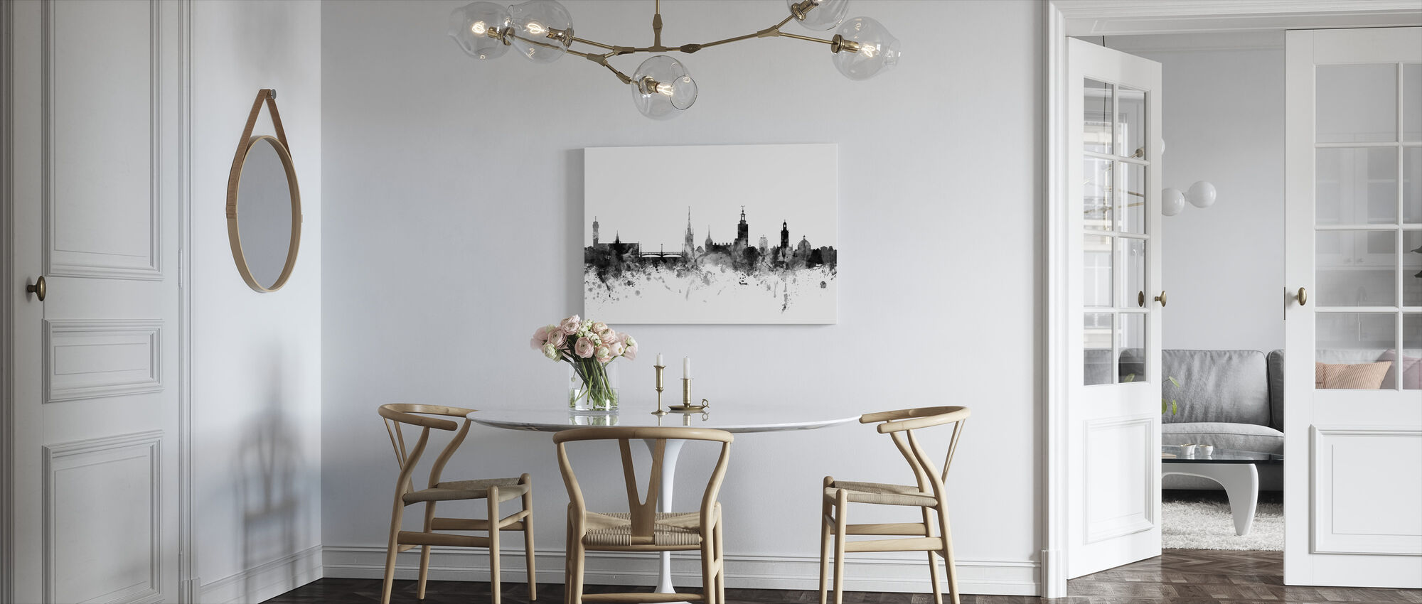 Stockholm Skyline Black - Canvas print - Kitchen