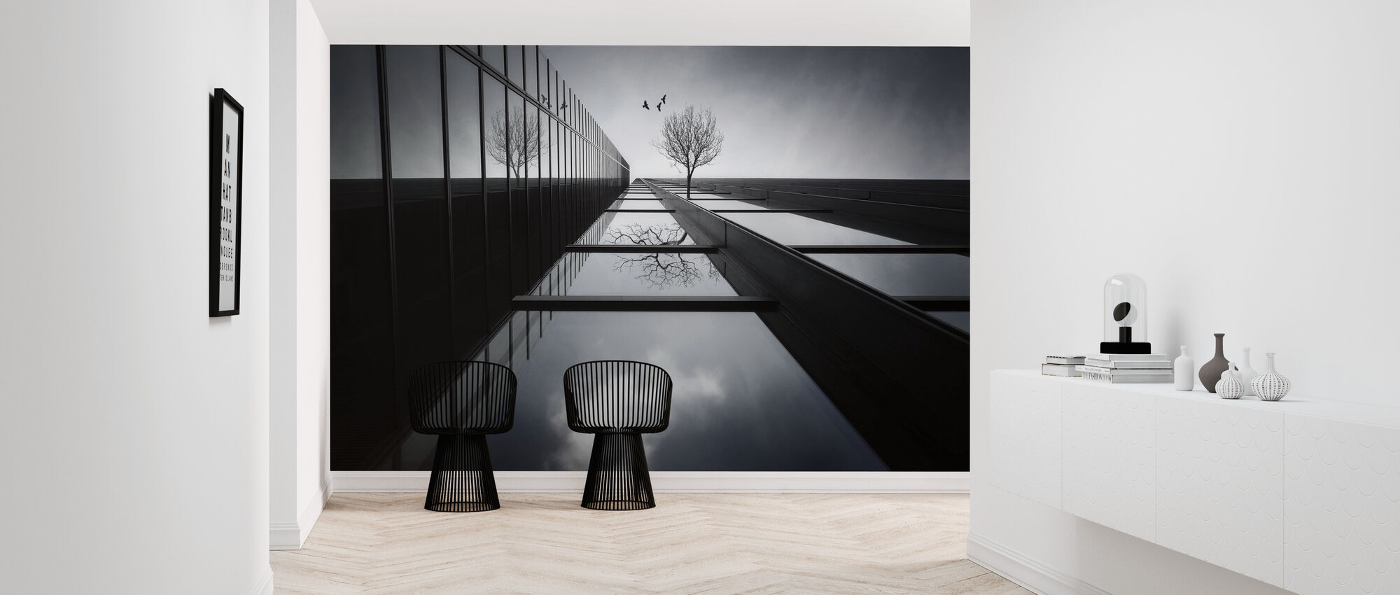 The Ethereal Flying Garden, black and white - Wallpaper - Hallway