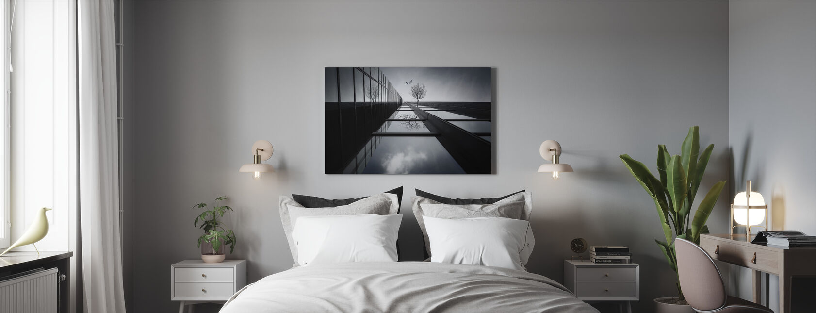 The Ethereal Flying Garden, black and white - Canvas print - Bedroom