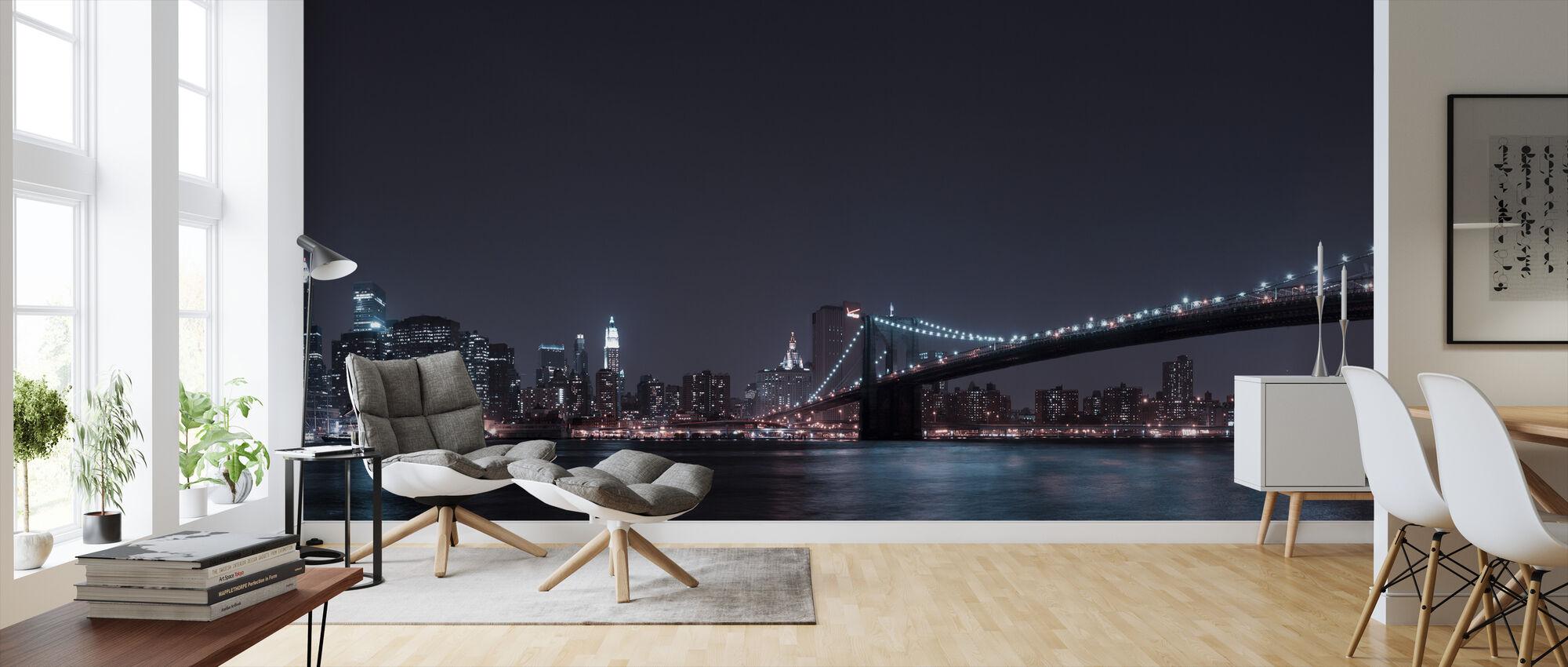 Manhattan Skyline and Brooklyn Bridge - Wallpaper - Living Room
