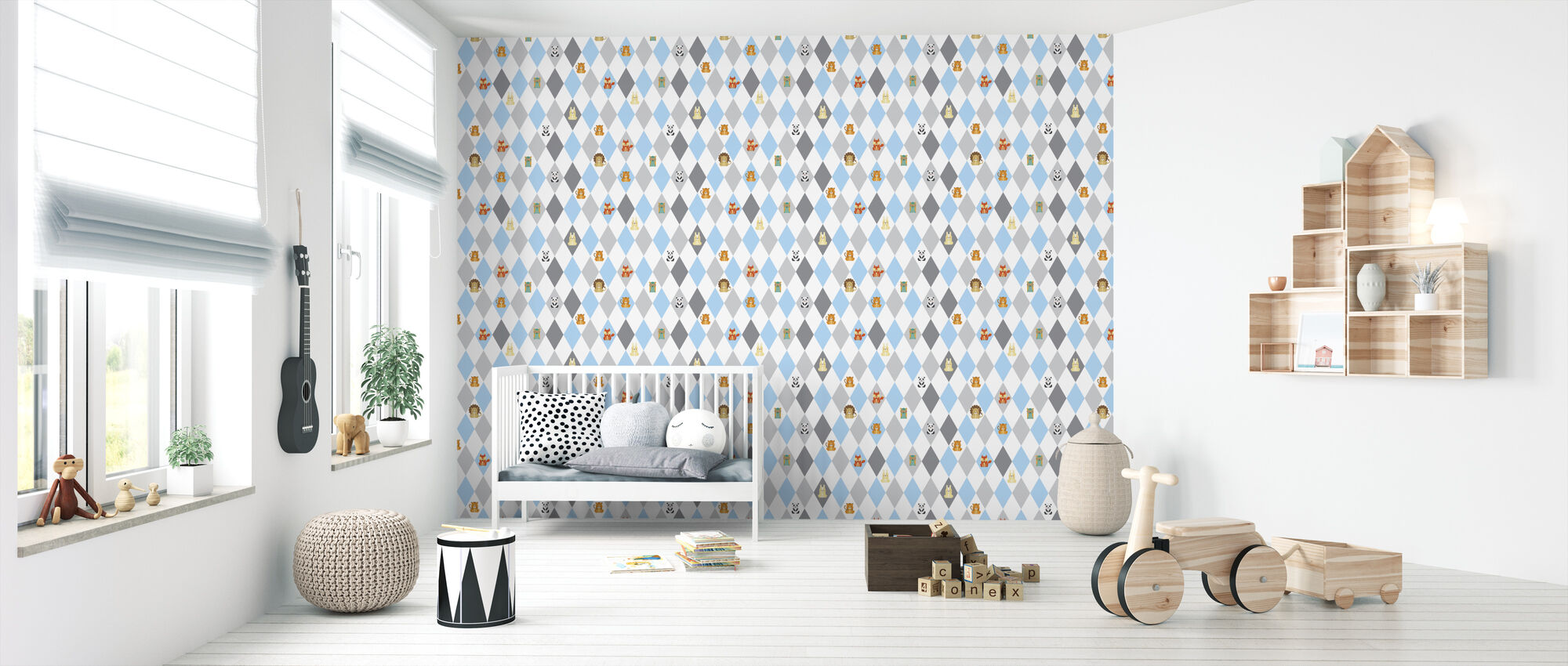 Retro Harlequin blue - Wallpaper - Nursery