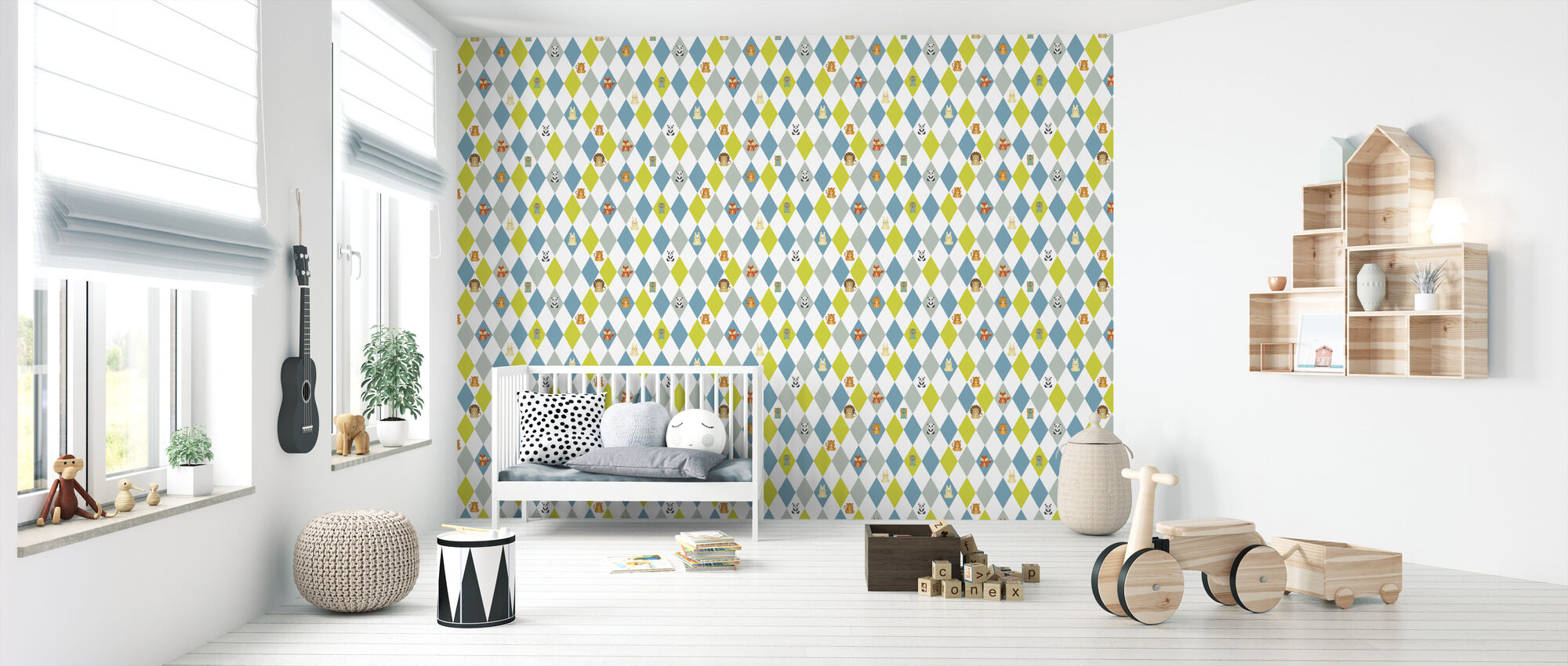 Retro Harlequin green - Wallpaper - Nursery