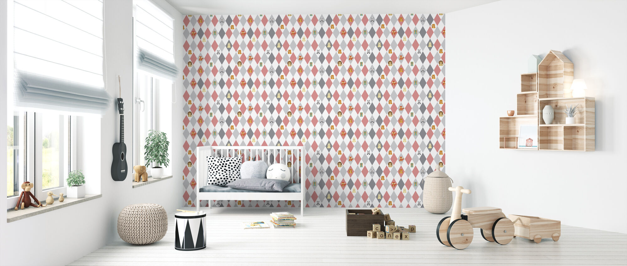 Retro Harlequin pink - Wallpaper - Nursery