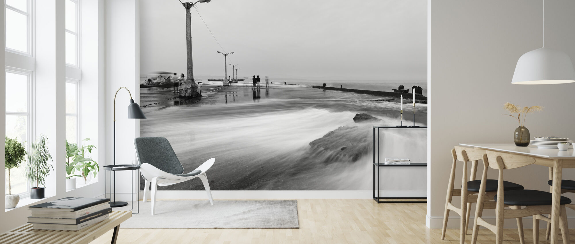 Overflowing Sea Water in Sta Ana Wharf - Wallpaper - Living Room