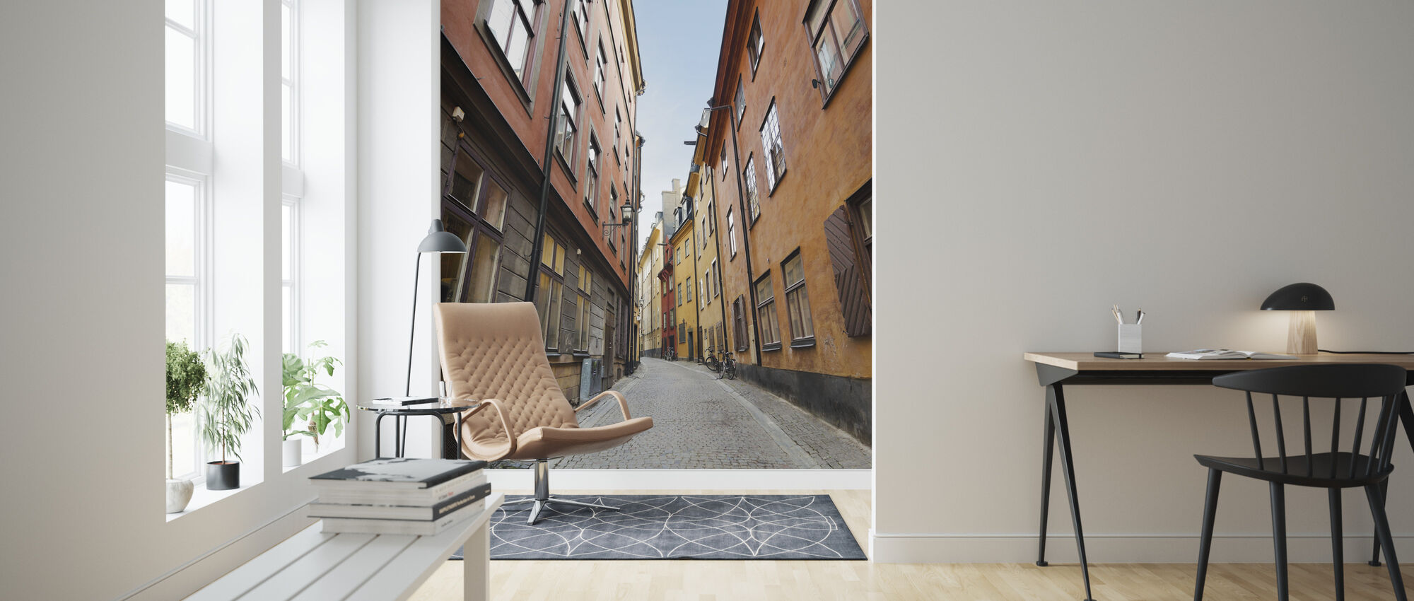 Old Town Street in Stockholm - Wallpaper - Living Room