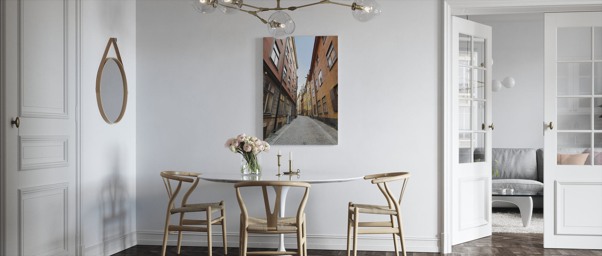 Old Town Street in Stockholm - Canvas print - Kitchen