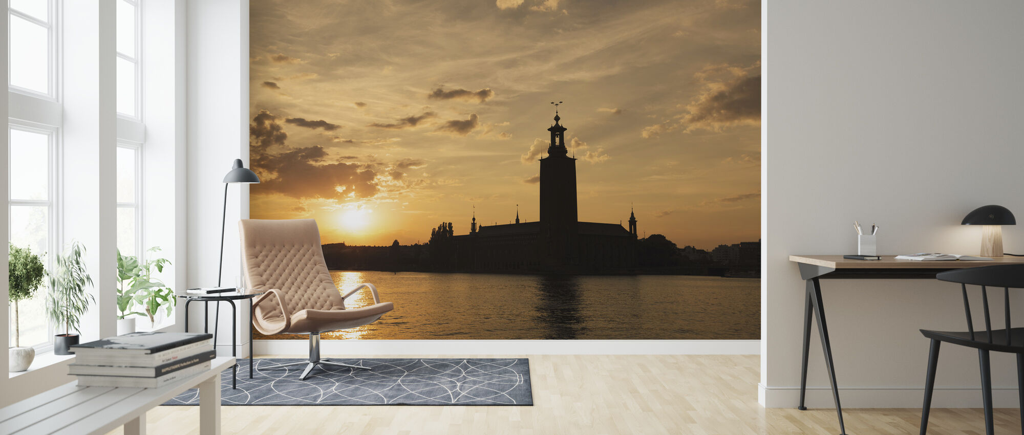 Stockholm City Hall in Silhouette - Wallpaper - Living Room