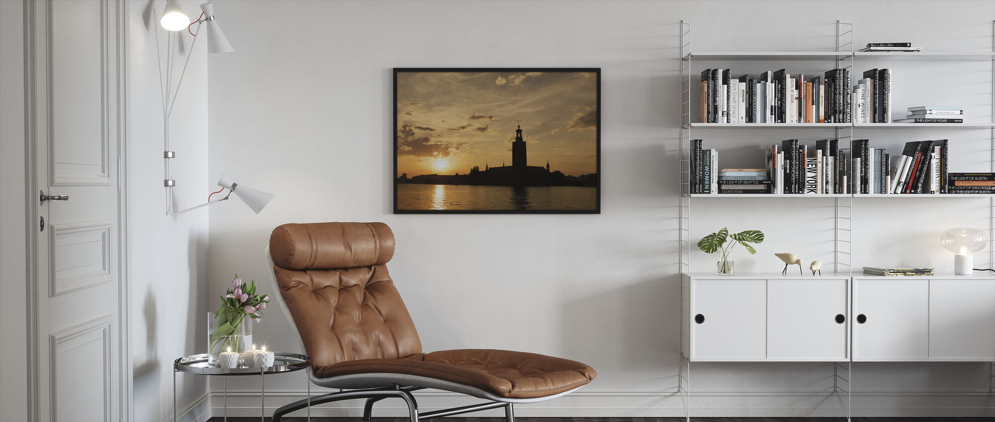 Stockholm City Hall in Silhouette - Framed print - Living Room
