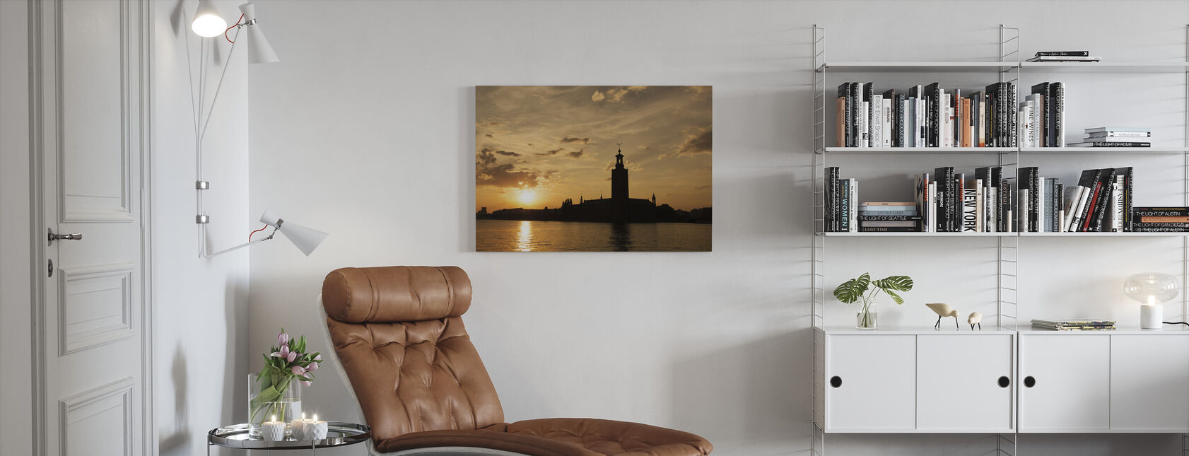 Stockholm City Hall in Silhouette - Canvas print - Living Room