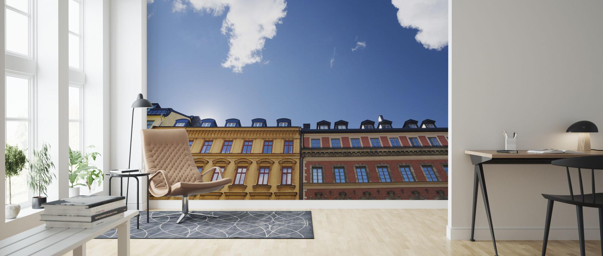 Kirkkaat värit Rakennukset Tukholmassa - Tapetti - Olohuone