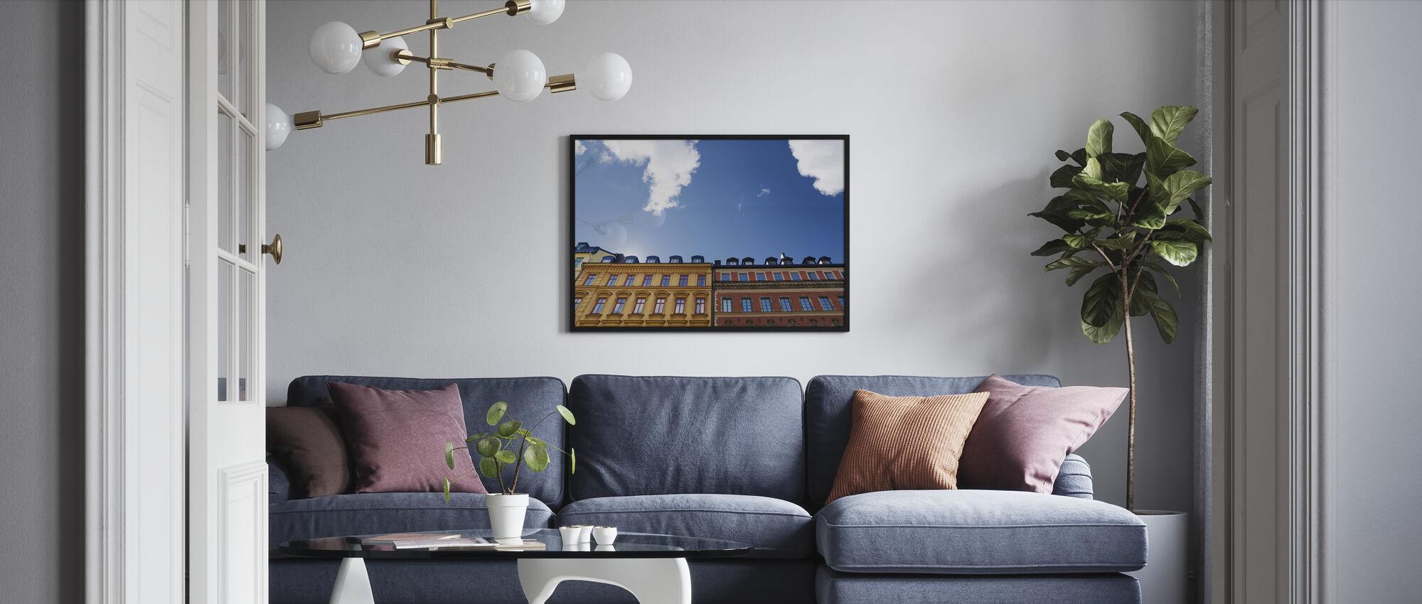 Vivid Colors of Buildings in Stockholm - Framed print - Living Room