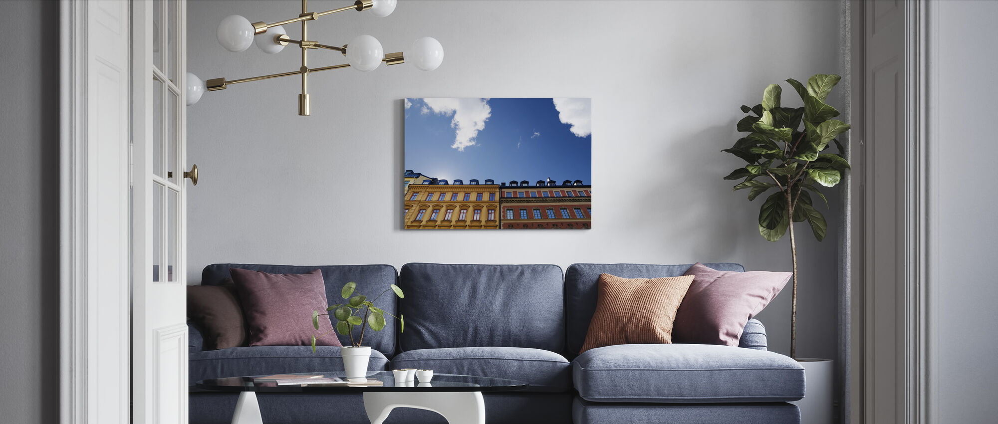 Vivid Colors of Buildings in Stockholm - Canvas print - Living Room
