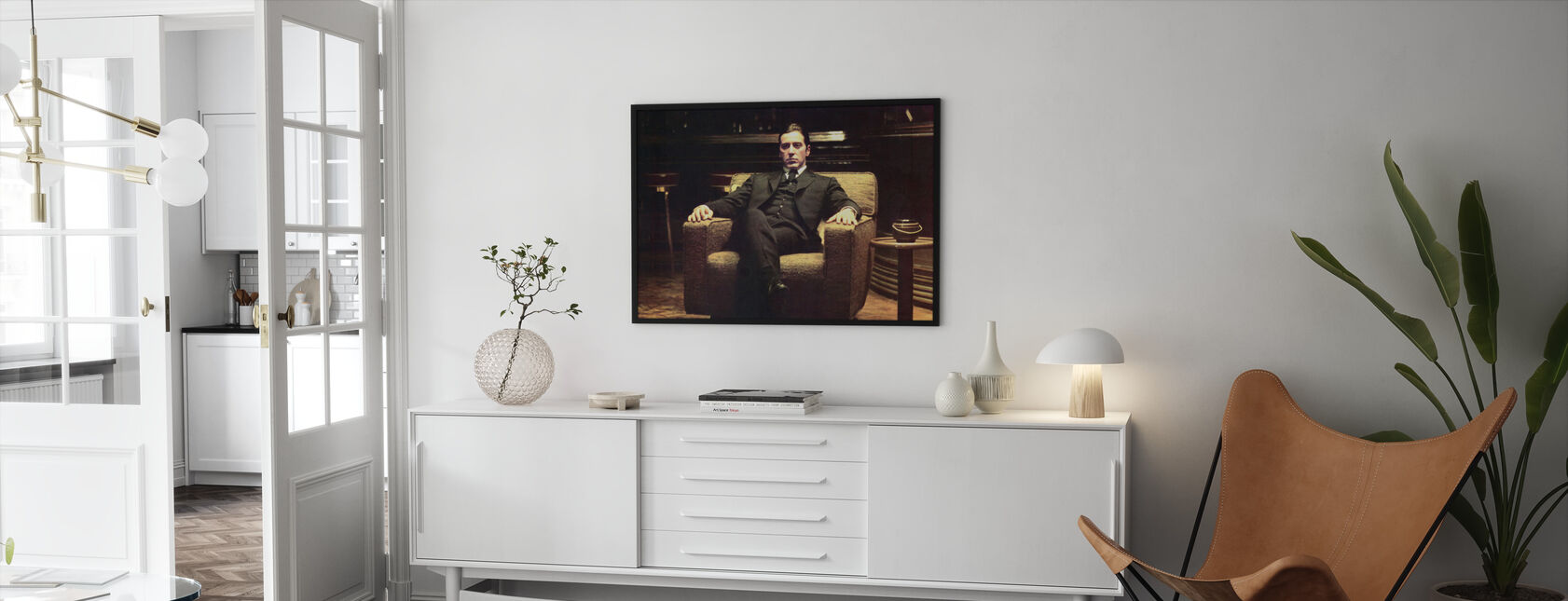 Gudfadern - lutade sig tillbaka Michael Corleone - Inramad tavla - Vardagsrum
