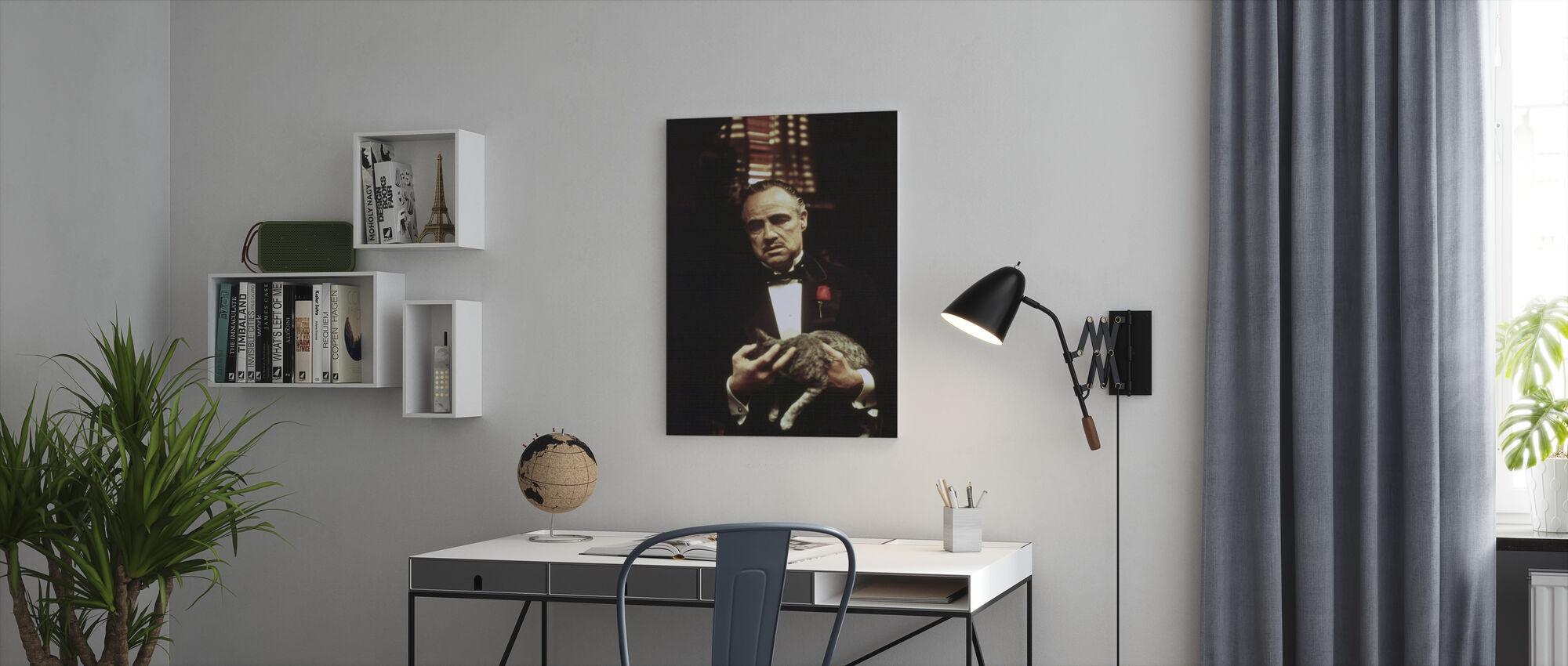 De peetvader Draagende Kat - Canvas print - Kantoor