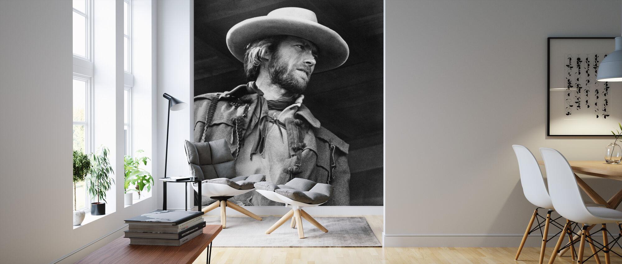 Outlaw Josey Wales - Harmaa asteikko - Tapetti - Olohuone