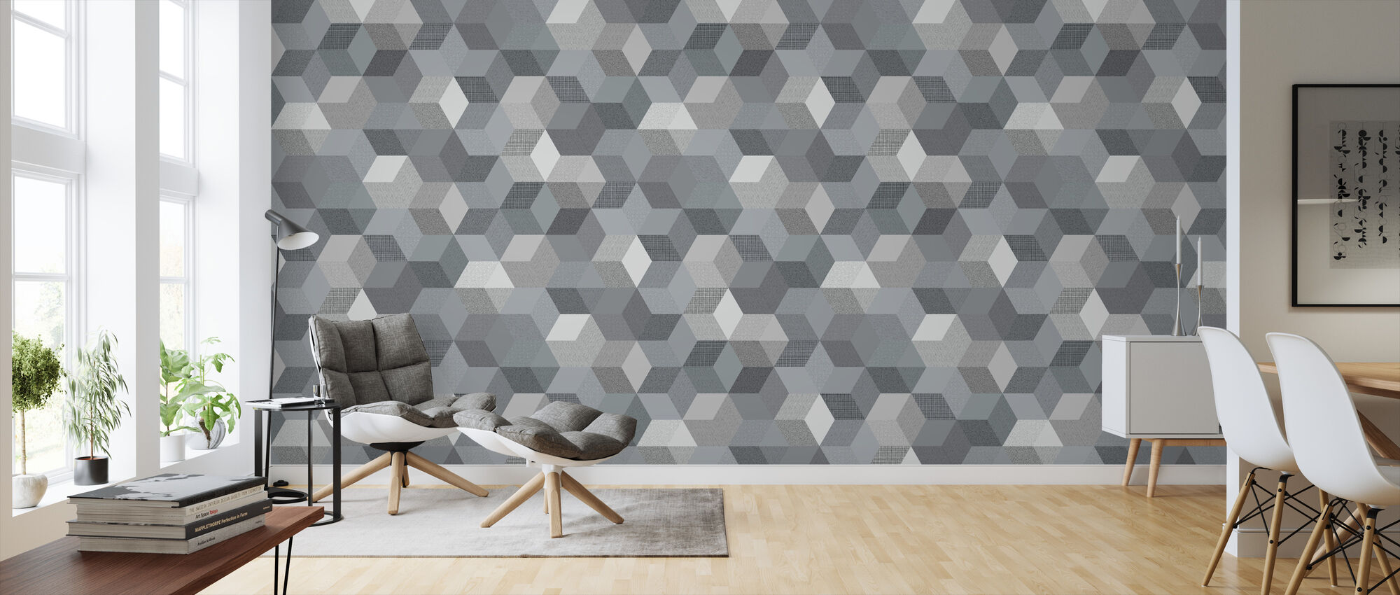 Polygon Graphite - Wallpaper - Living Room