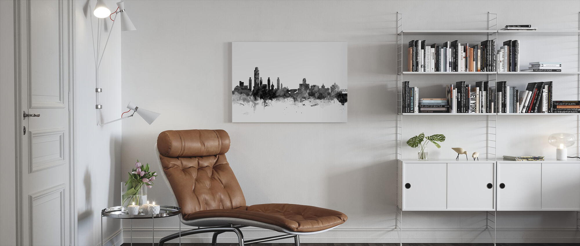 Albany New York Skyline Black - Canvas print - Living Room