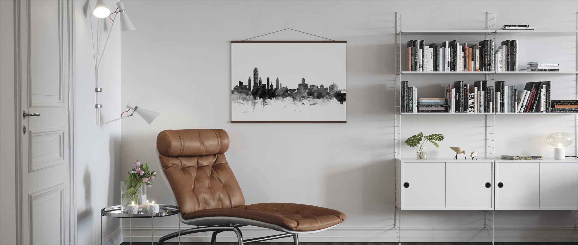 Albany New York Skyline Black - Poster - Living Room