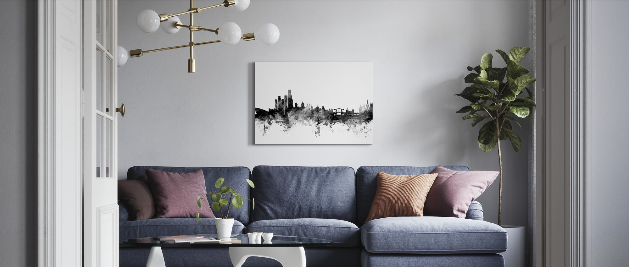 Amsterdam Skyline Black - Canvas print - Living Room