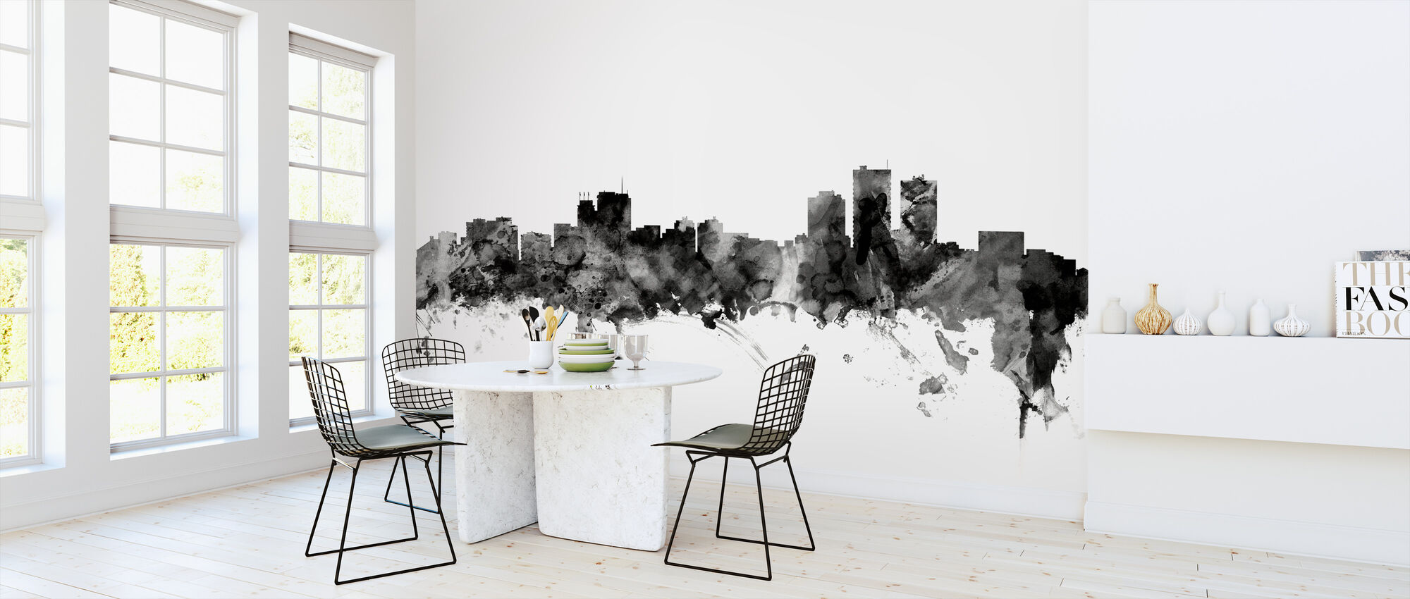 Anchorage Alaska Skyline Black - Wallpaper - Kitchen