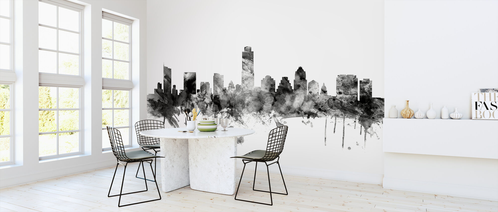 Austin Texas Skyline Black - Wallpaper - Kitchen