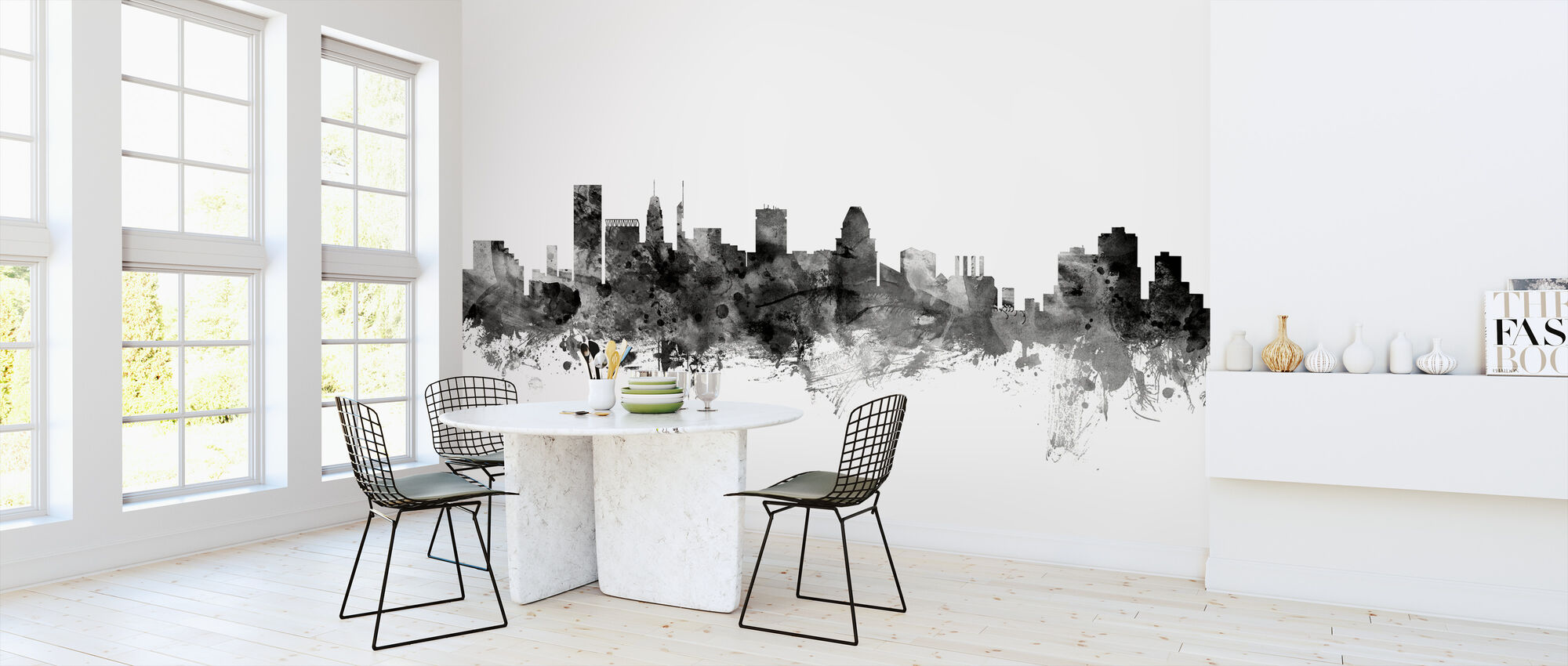 Baltimore Maryland Skyline Black - Wallpaper - Kitchen