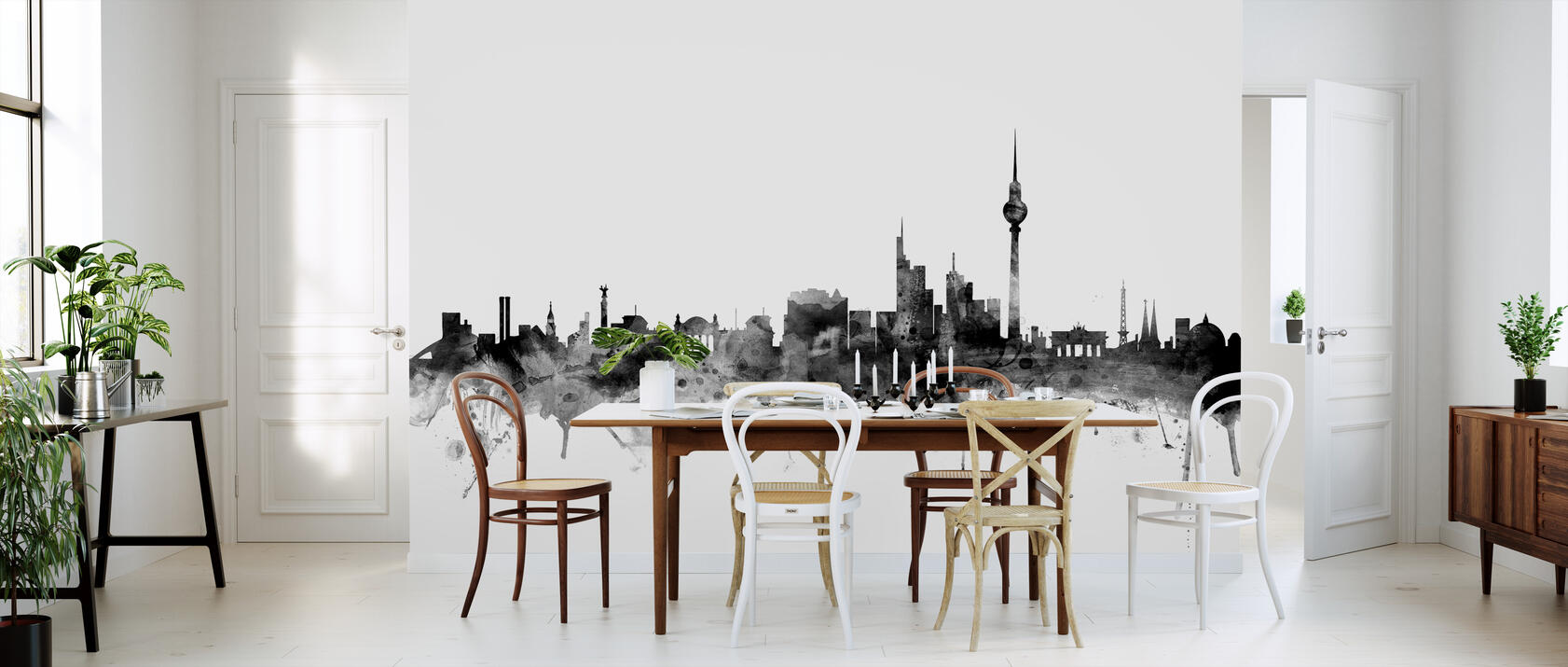 berlin skyline black beliebte fototapete photowall. Black Bedroom Furniture Sets. Home Design Ideas