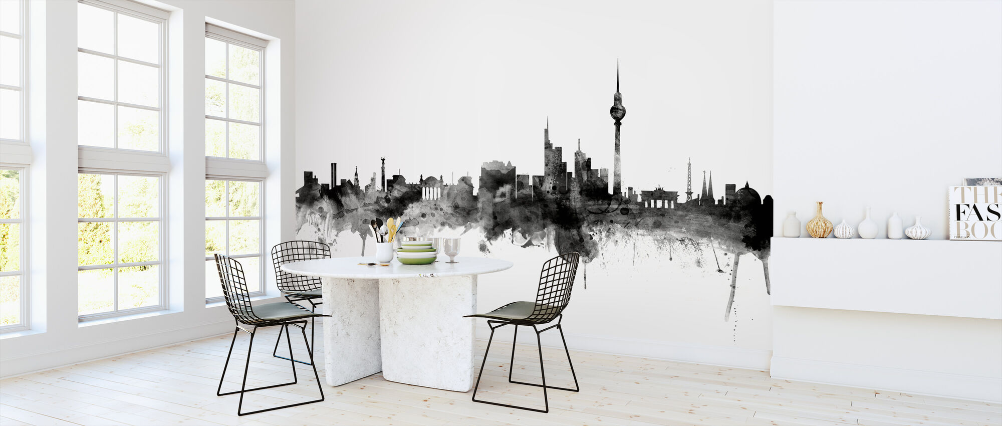 Berlin Skyline Black - Wallpaper - Kitchen