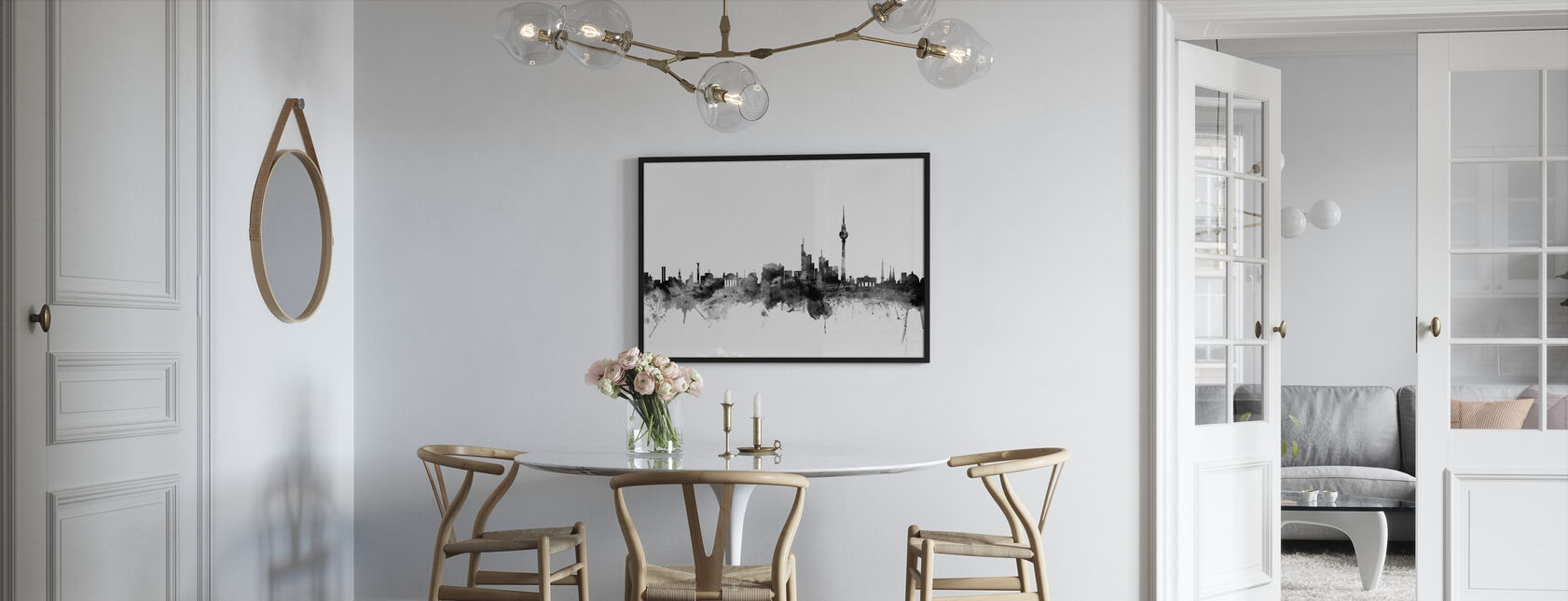 Berlin Skyline Noir - Impression encadree - Cuisine