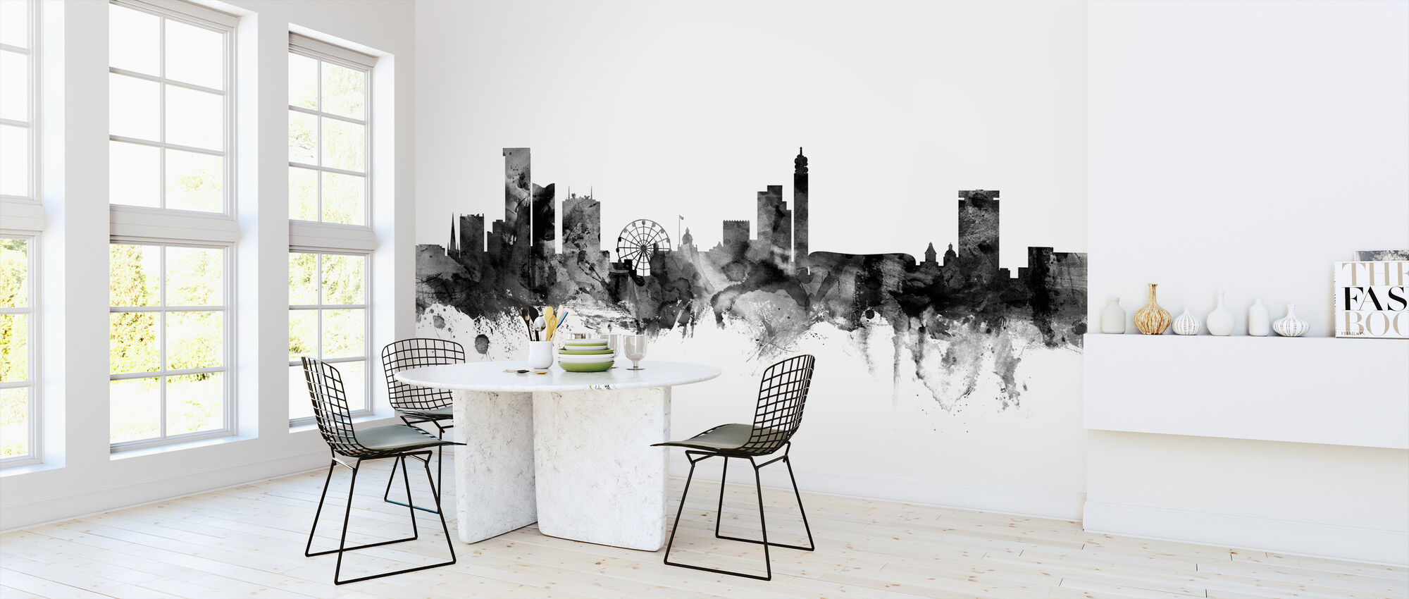 Birmingham UK Skyline Black - Wallpaper - Kitchen