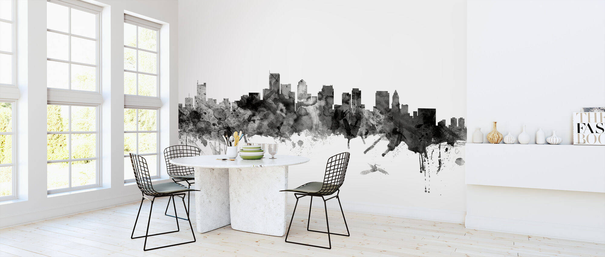 Boston Massachusetts Skyline Black - Wallpaper - Kitchen