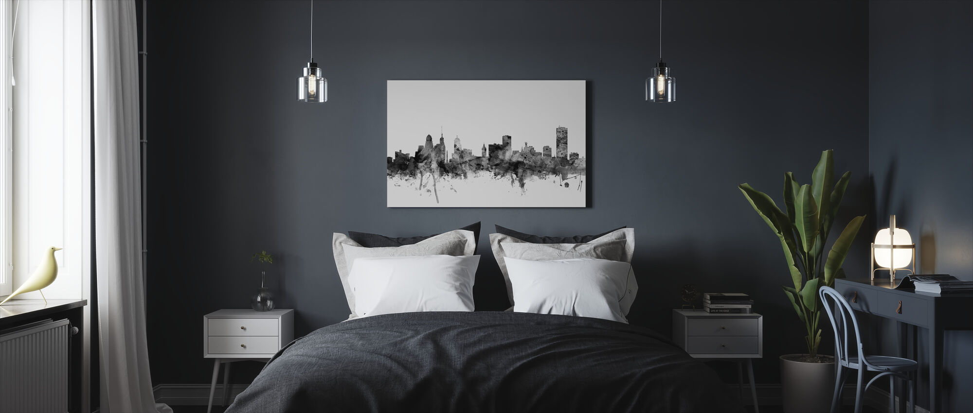 Buffalo New York Skyline Zwart - Canvas print - Slaapkamer