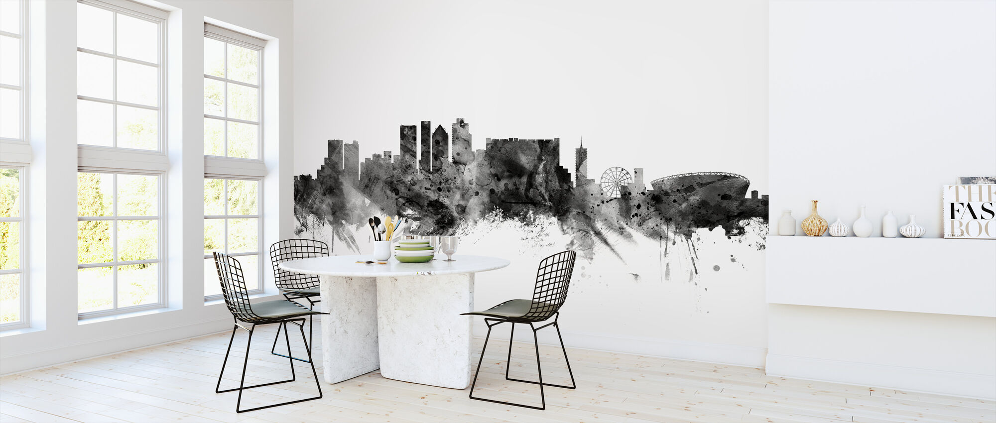 Cape Town South Africa Skyline Black - Wallpaper - Kitchen
