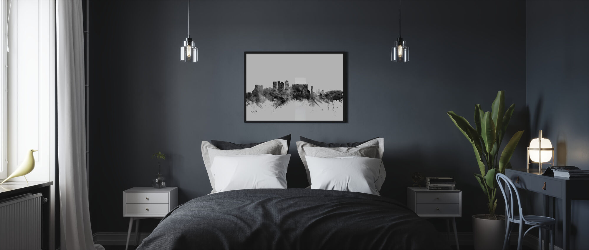 Cape Town South Africa Skyline Black - Framed print - Bedroom