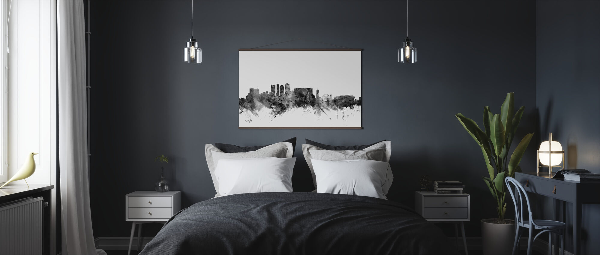 Cape Town South Africa Skyline Black - Poster - Bedroom