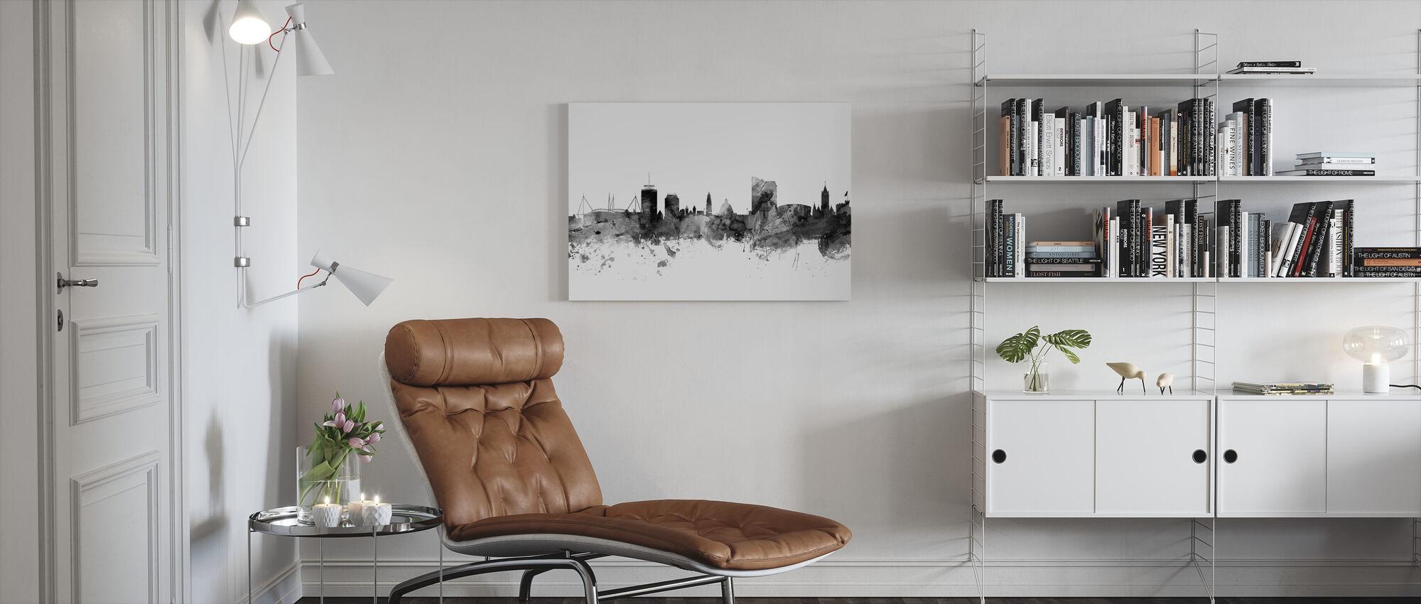 Cardiff Wales Skyline Black - Canvas print - Living Room