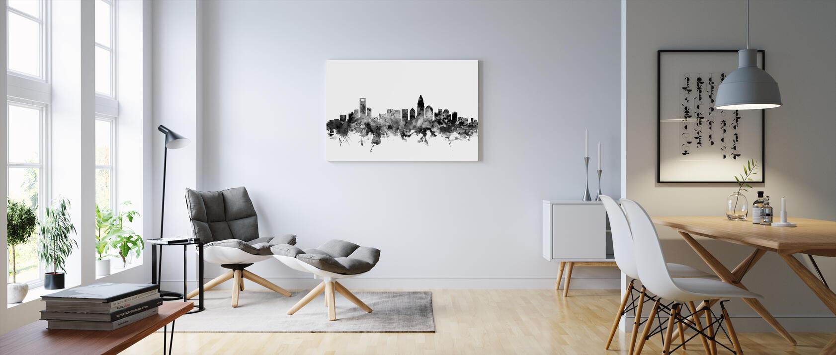 Charlotte North Carolina Skyline Black Edullinen Canvastaulu Verkosta Photowall
