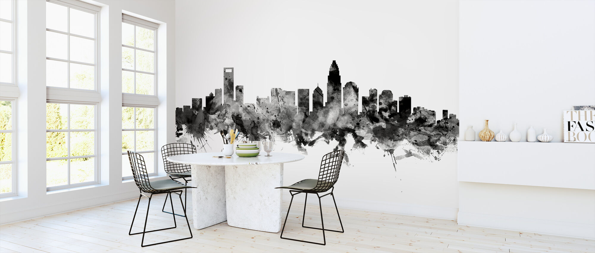 Charlotte North Carolina Skyline Black - Wallpaper - Kitchen