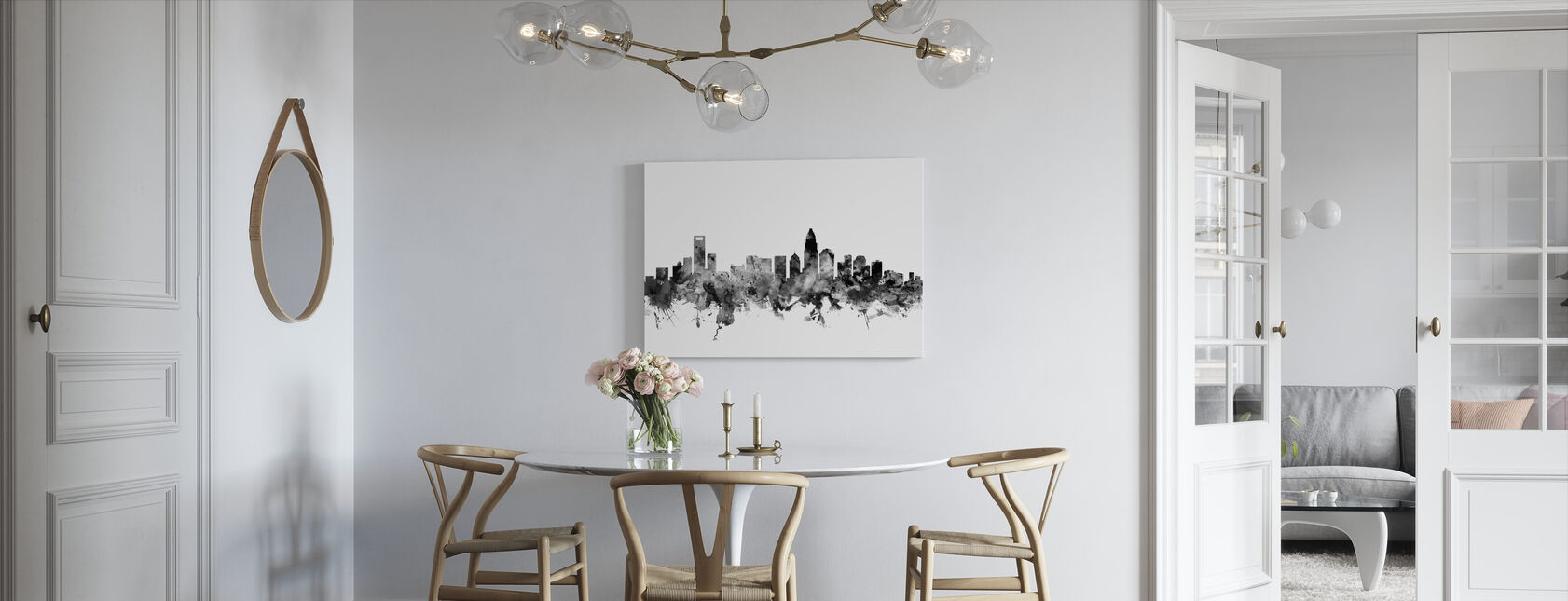 Charlotte North Carolina Skyline Black - Canvas print - Kitchen