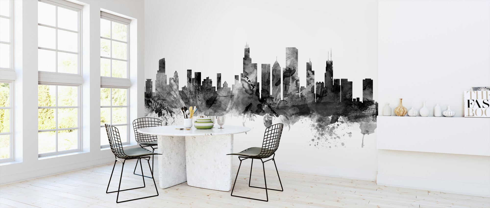 Chicago Skyline Black - Wallpaper - Kitchen