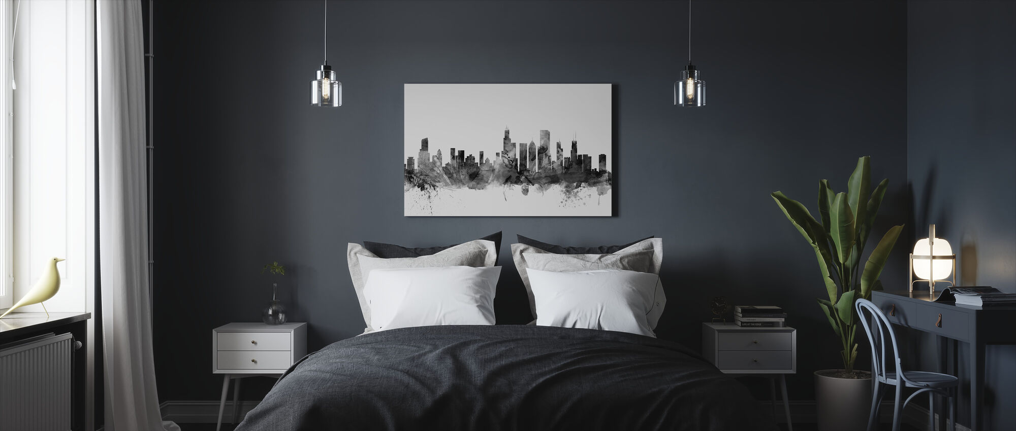 Chicago Skyline Black - Canvas print - Bedroom