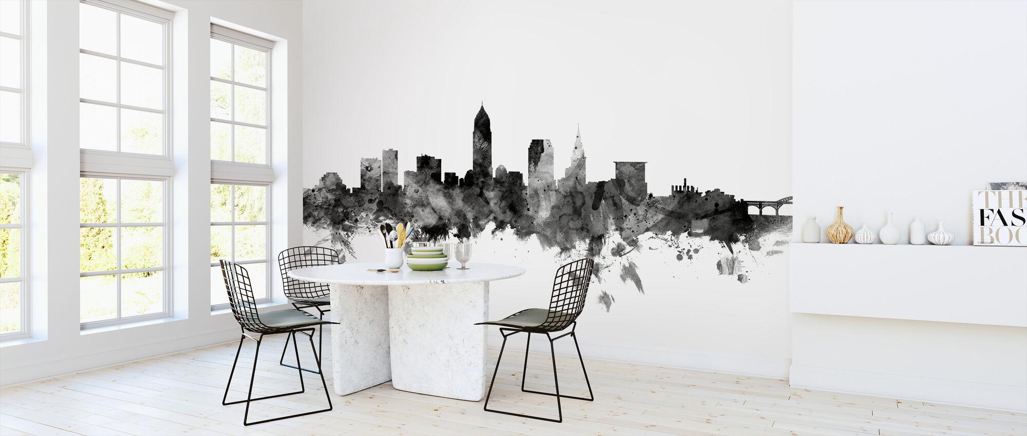 Cleveland Ohio Skyline Svart - Tapet - Kjøkken