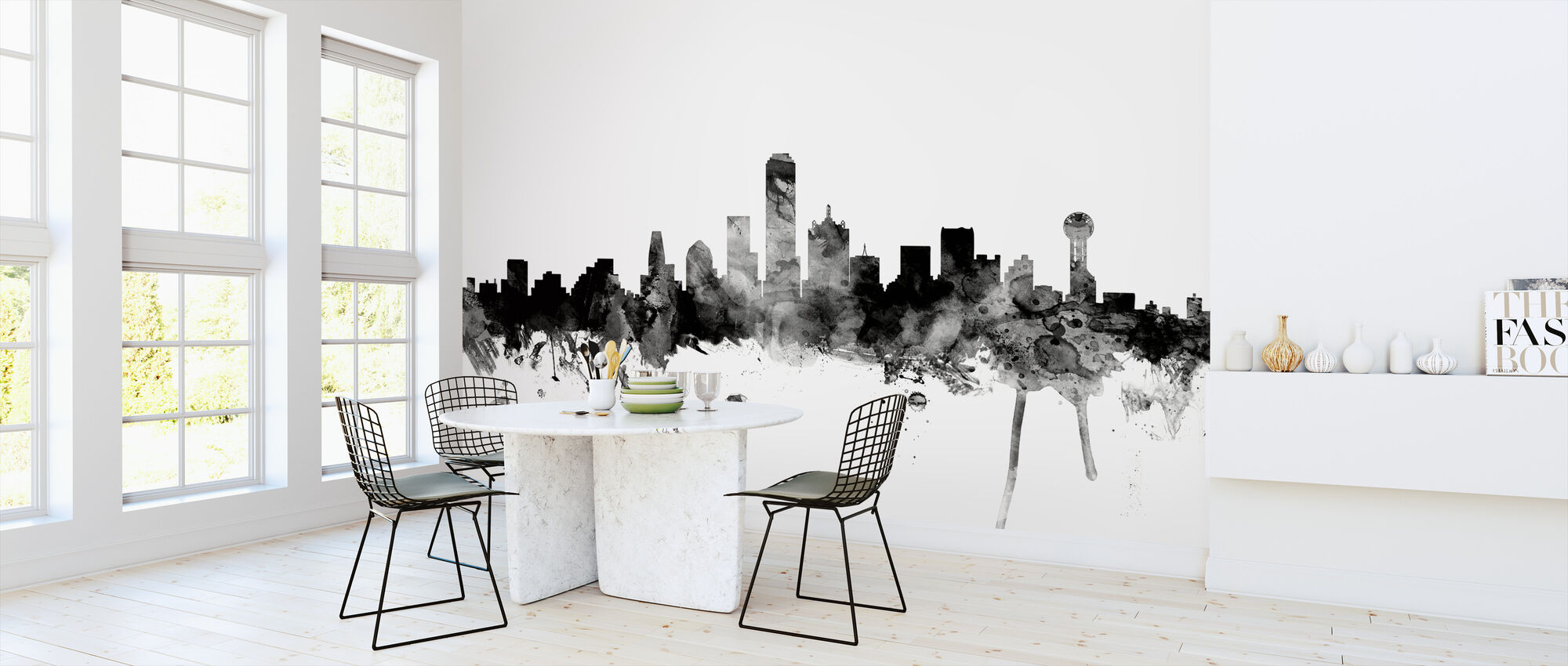 Dallas Texas Skyline Black - Wallpaper - Kitchen