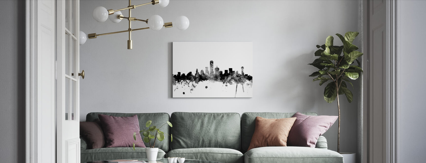 Dallas Texas Skyline Black - Canvas print - Living Room