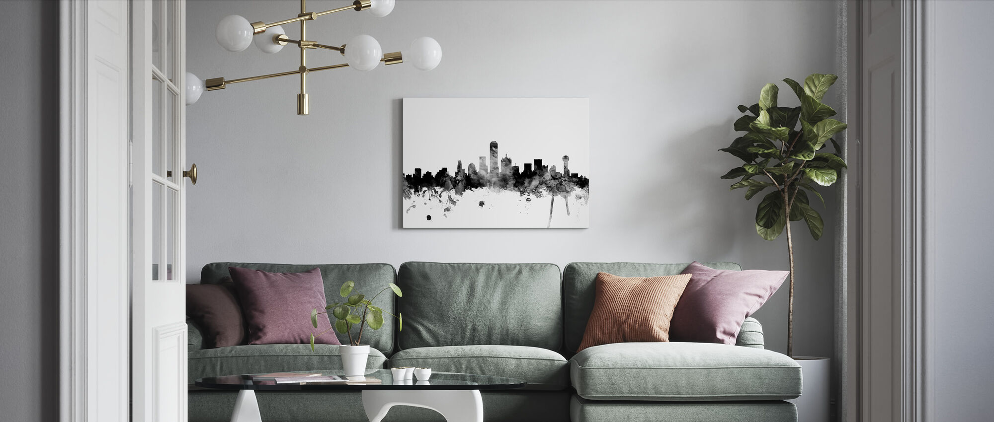 Dallas Texas Skyline Black - Canvas print - Living Room