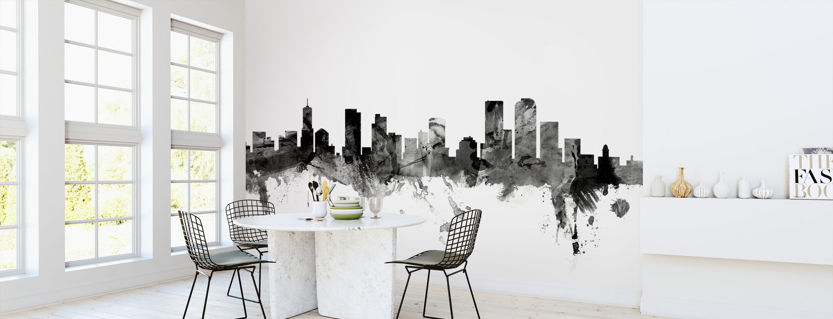 Denver Colorado Skyline Black - Wallpaper - Kitchen