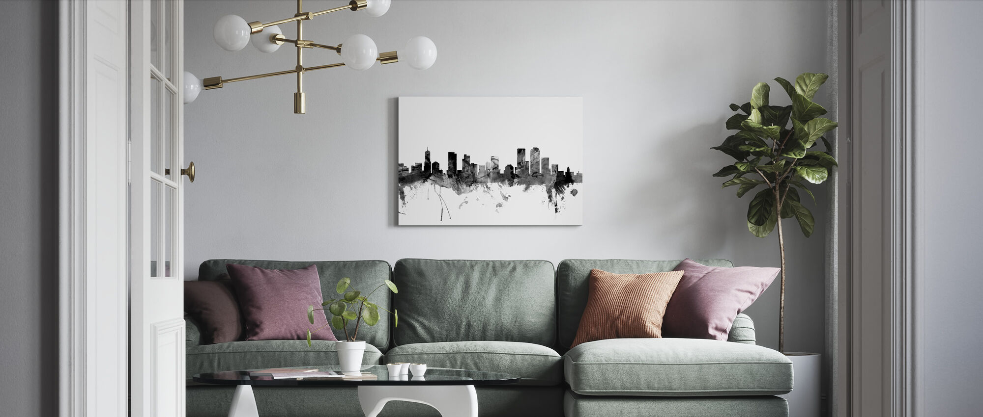Denver Colorado Skyline Black - Canvas print - Living Room