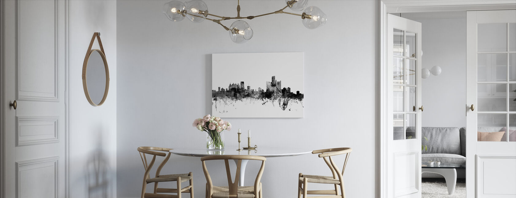 Detroit Michigan Skyline Black - Canvas print - Kitchen